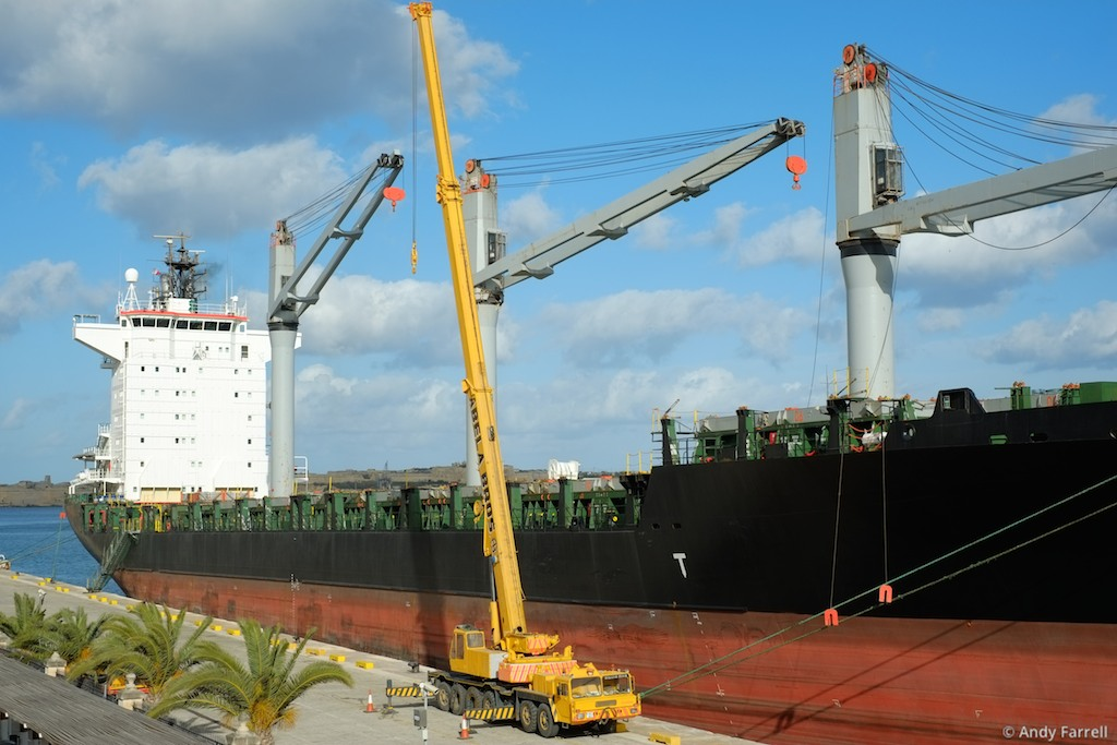 container ship and large crane