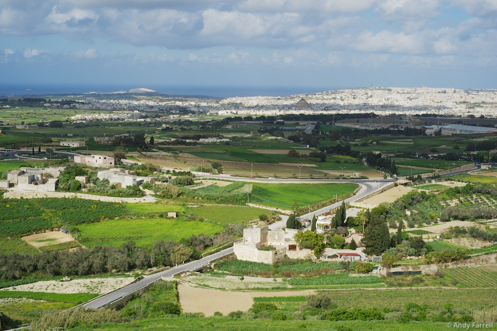 overlooking typical Maltese landscape