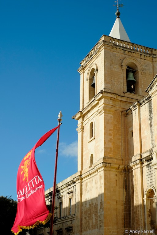 banner outside St. John's Co-Cathedral, Valletta