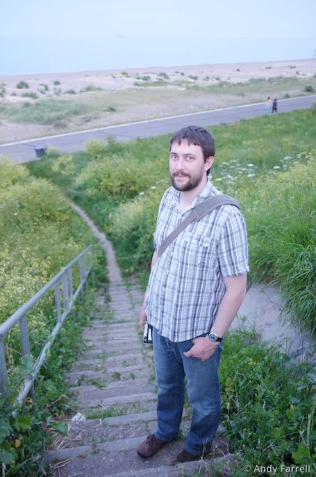 me on the steps down to Pakefield beach