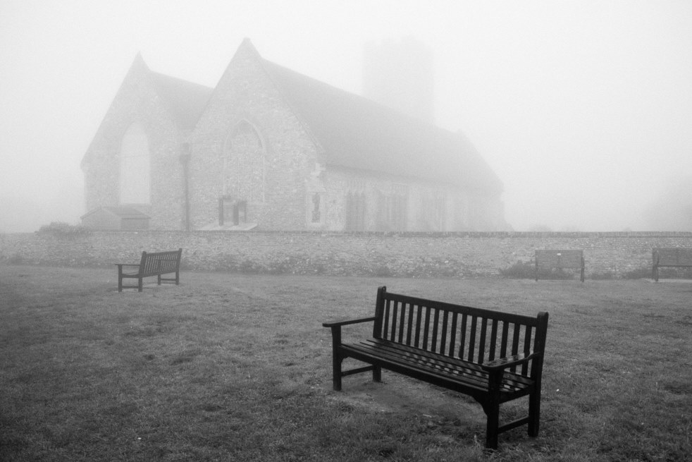bench and church