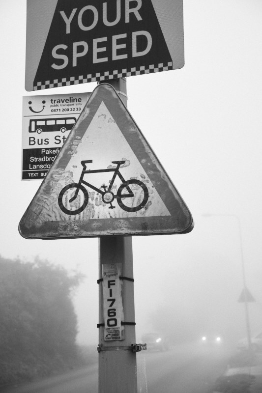 bike warning sign