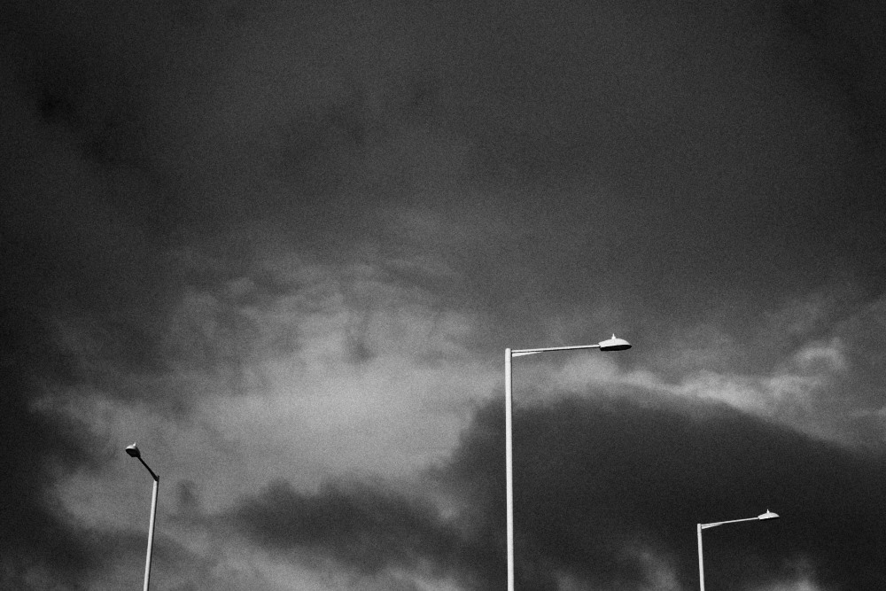 dark sky and street lights