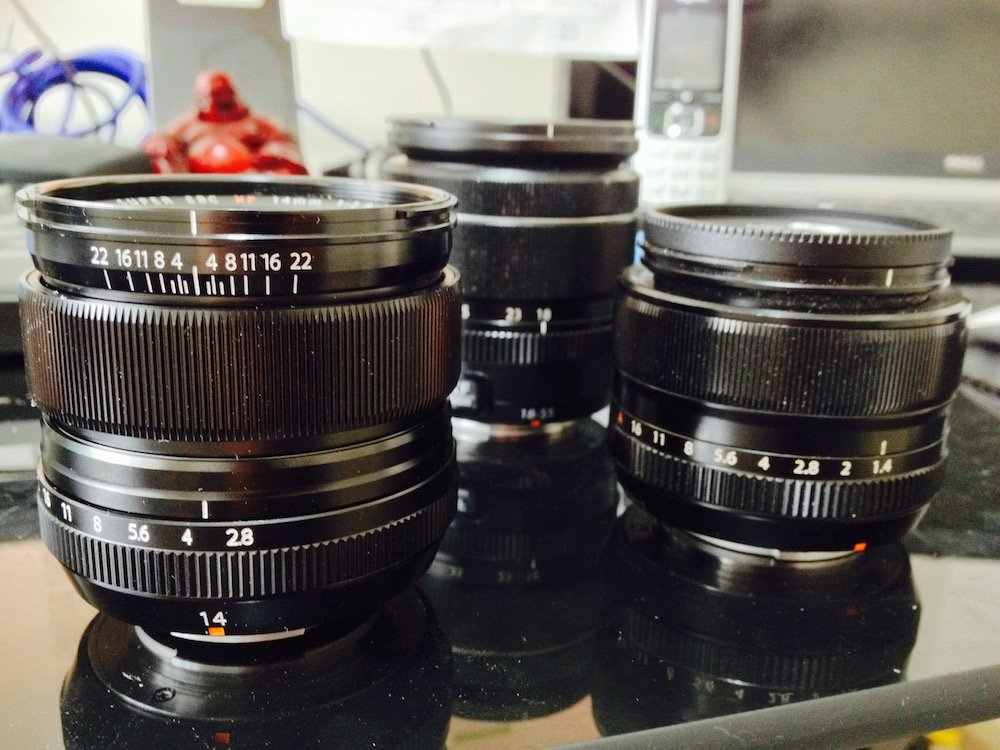 Fuji lenses: 14mm, 35mm f/1.4, 18–55mm