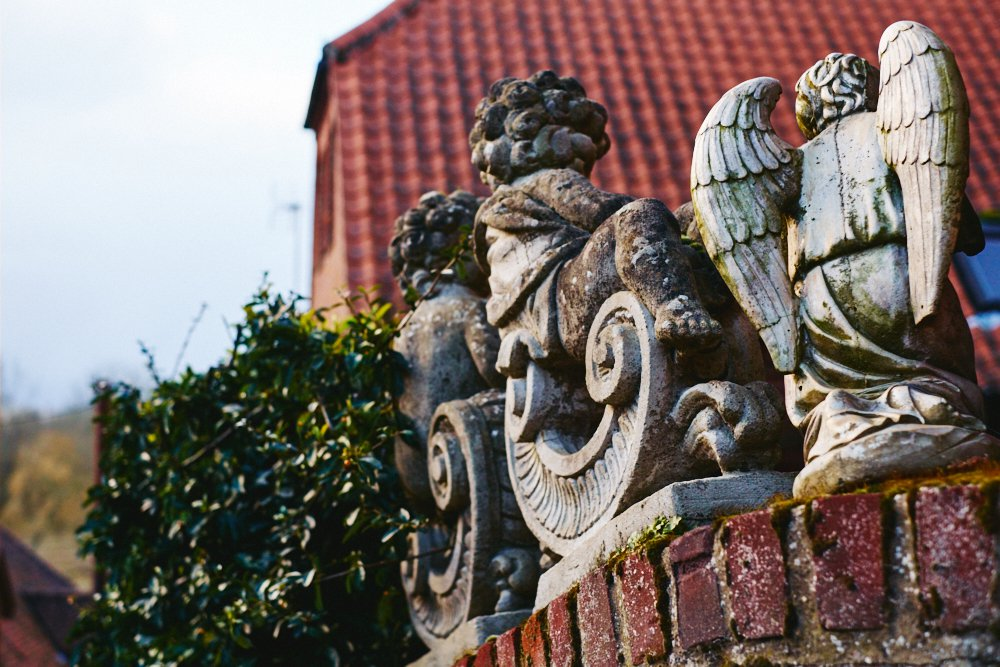 garden ornaments on a wall
