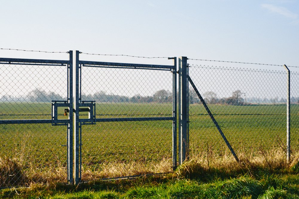 chain-link fence and gate