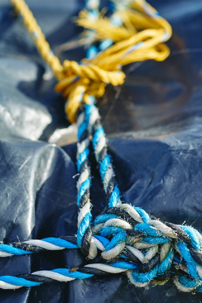 blue and yellow ropes