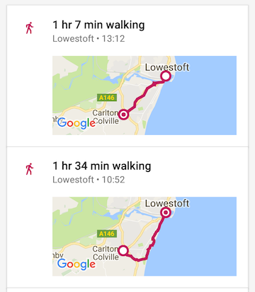Lowestoft and back again, walking route map