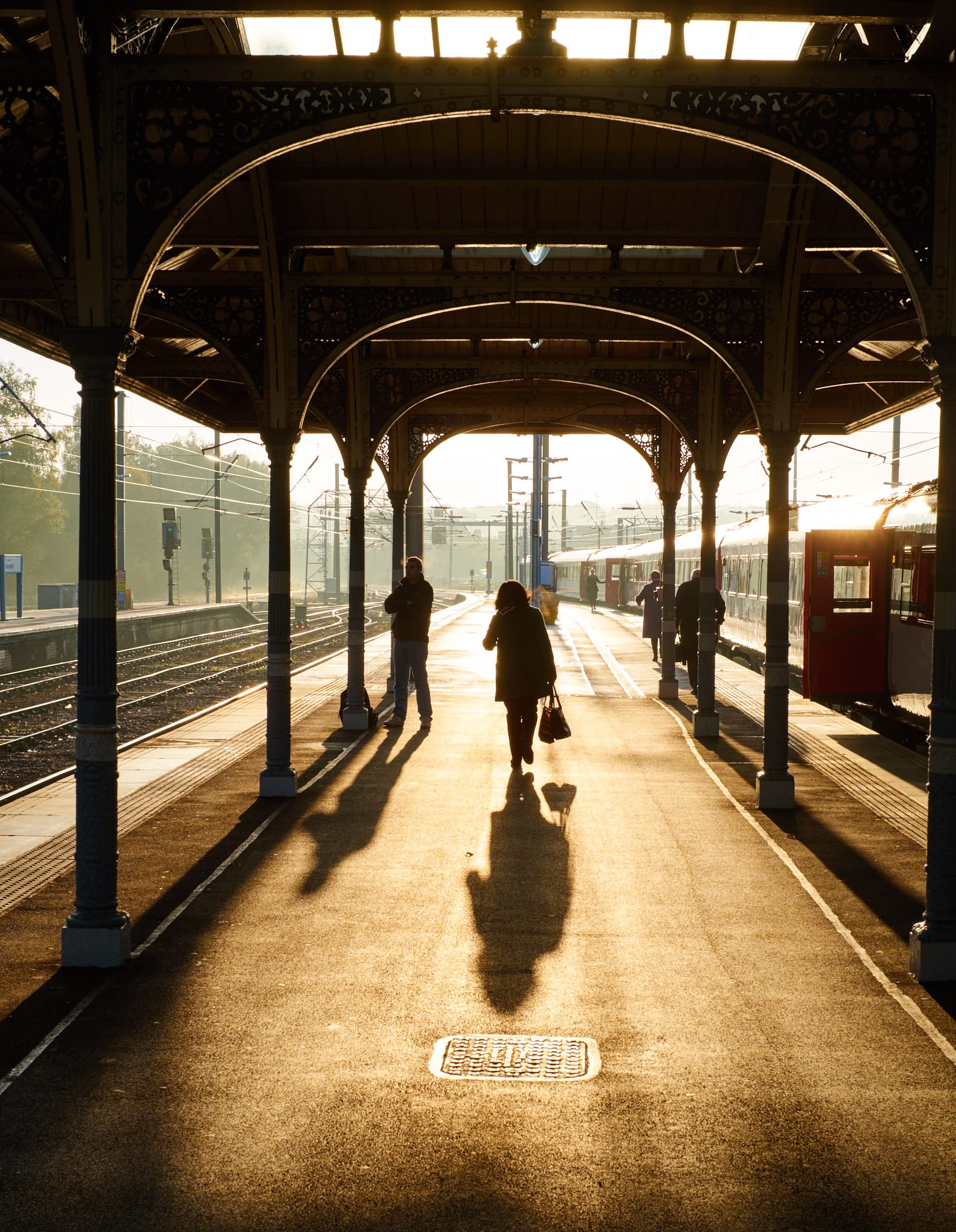 Norwich station platform, backlit