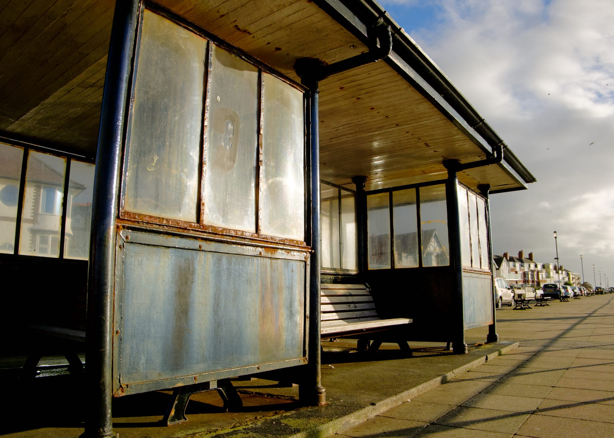 rusty bus shelter, West Kirby