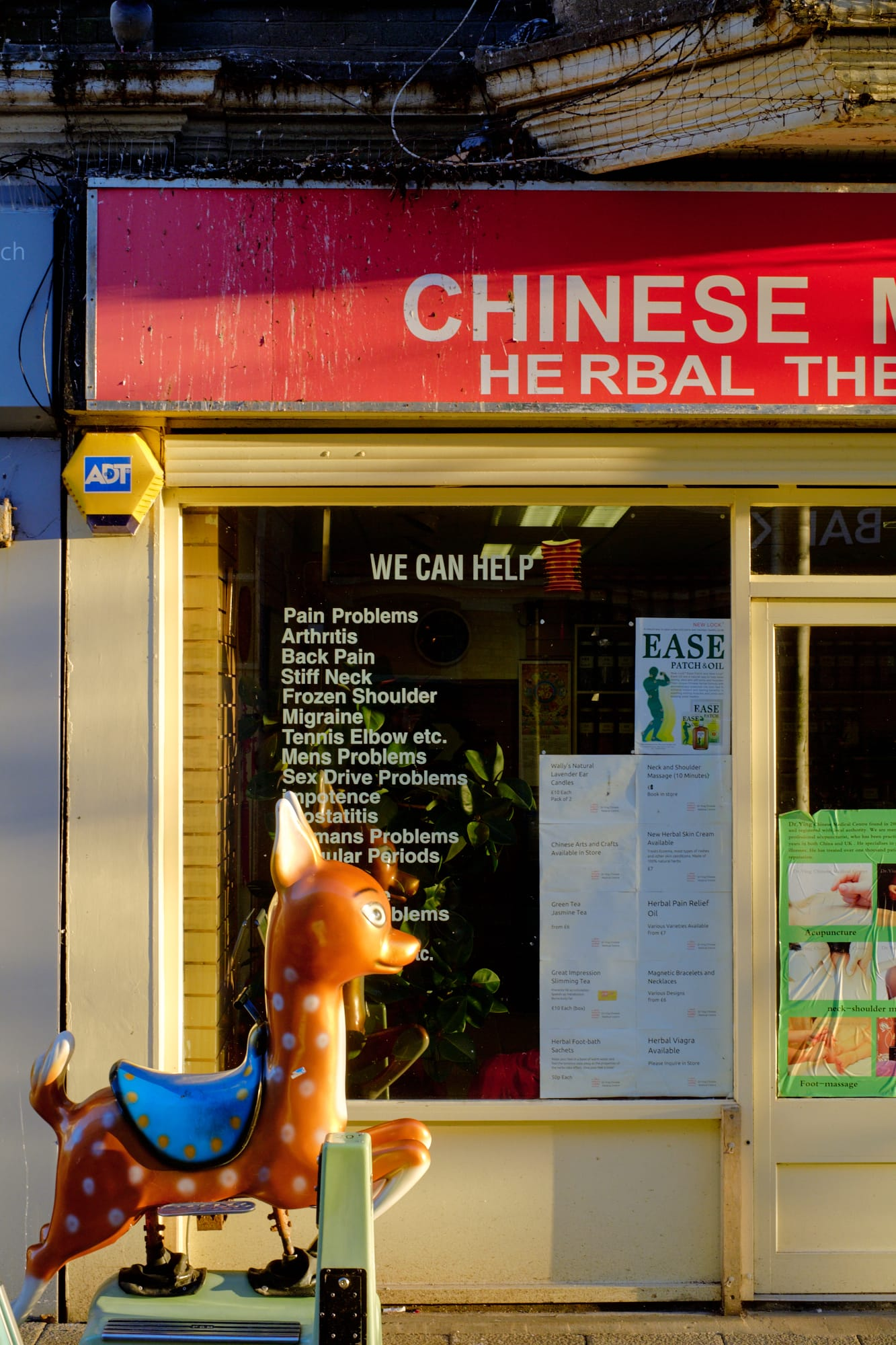 children's ride outside Chinese herbal medicine shop