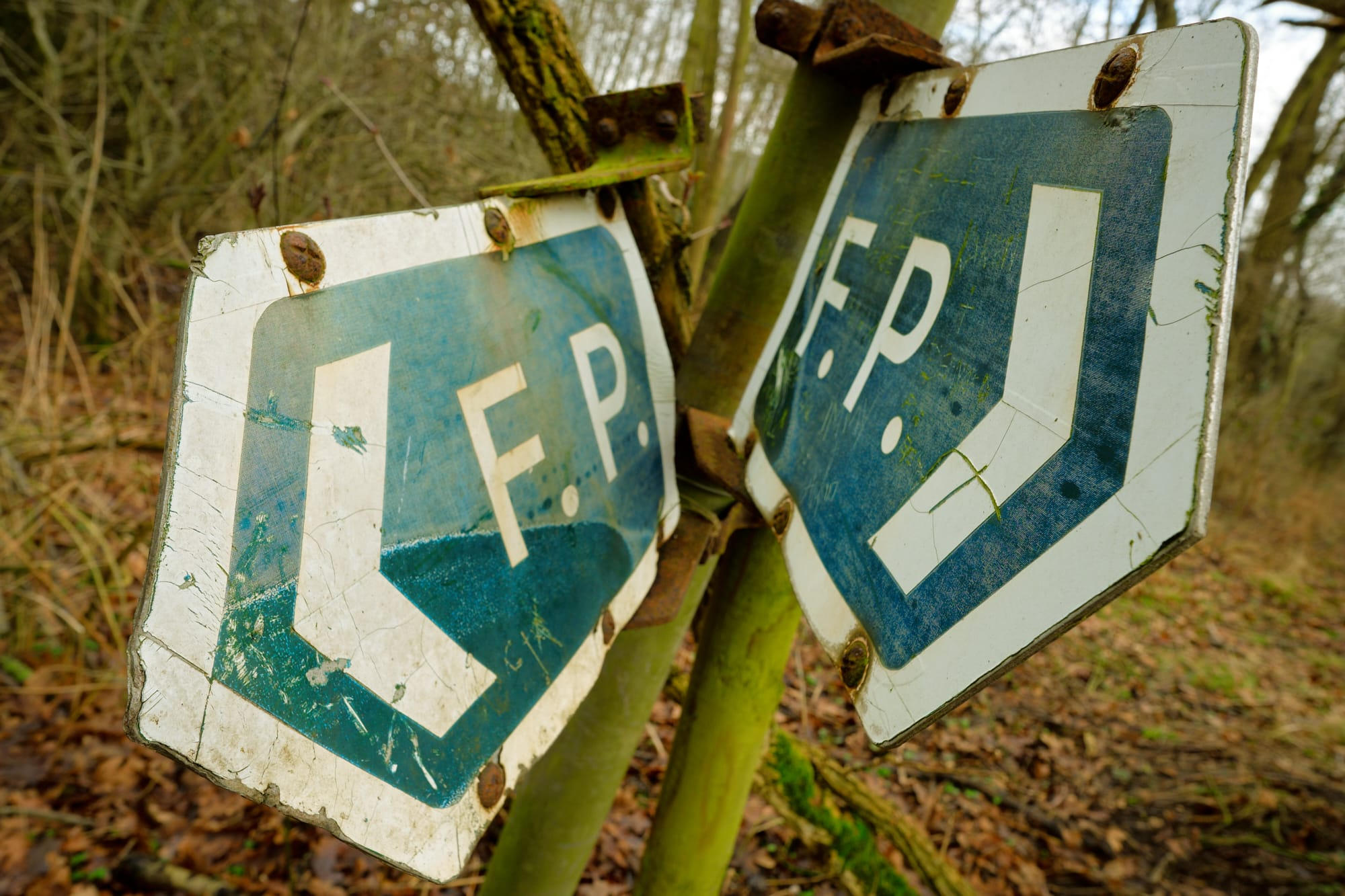 two old abbreviated 'Footpath' signs