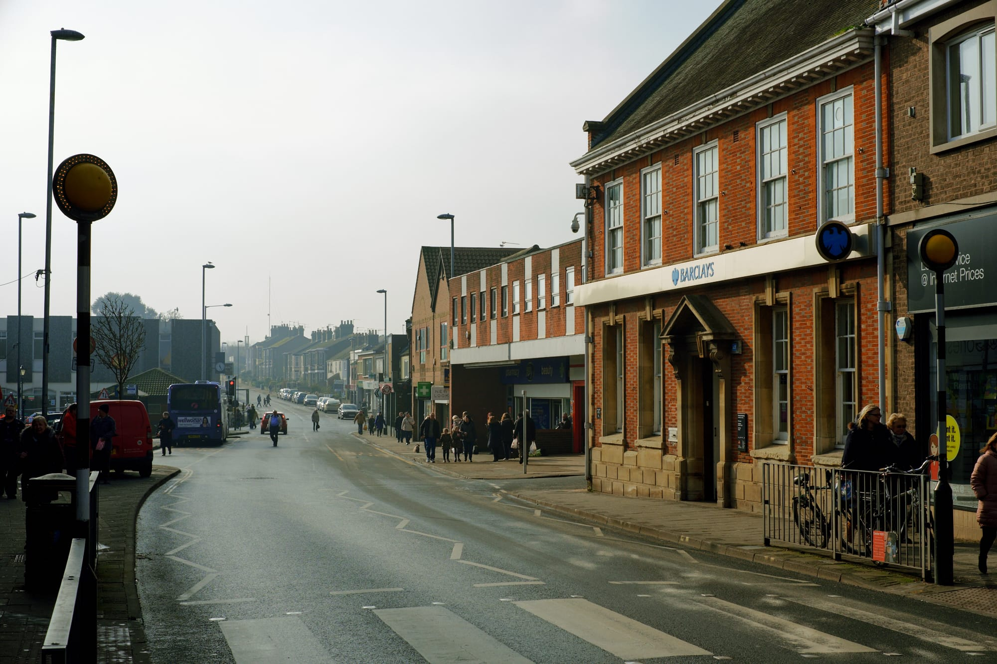 view south along Lowestoft Road from the town centre