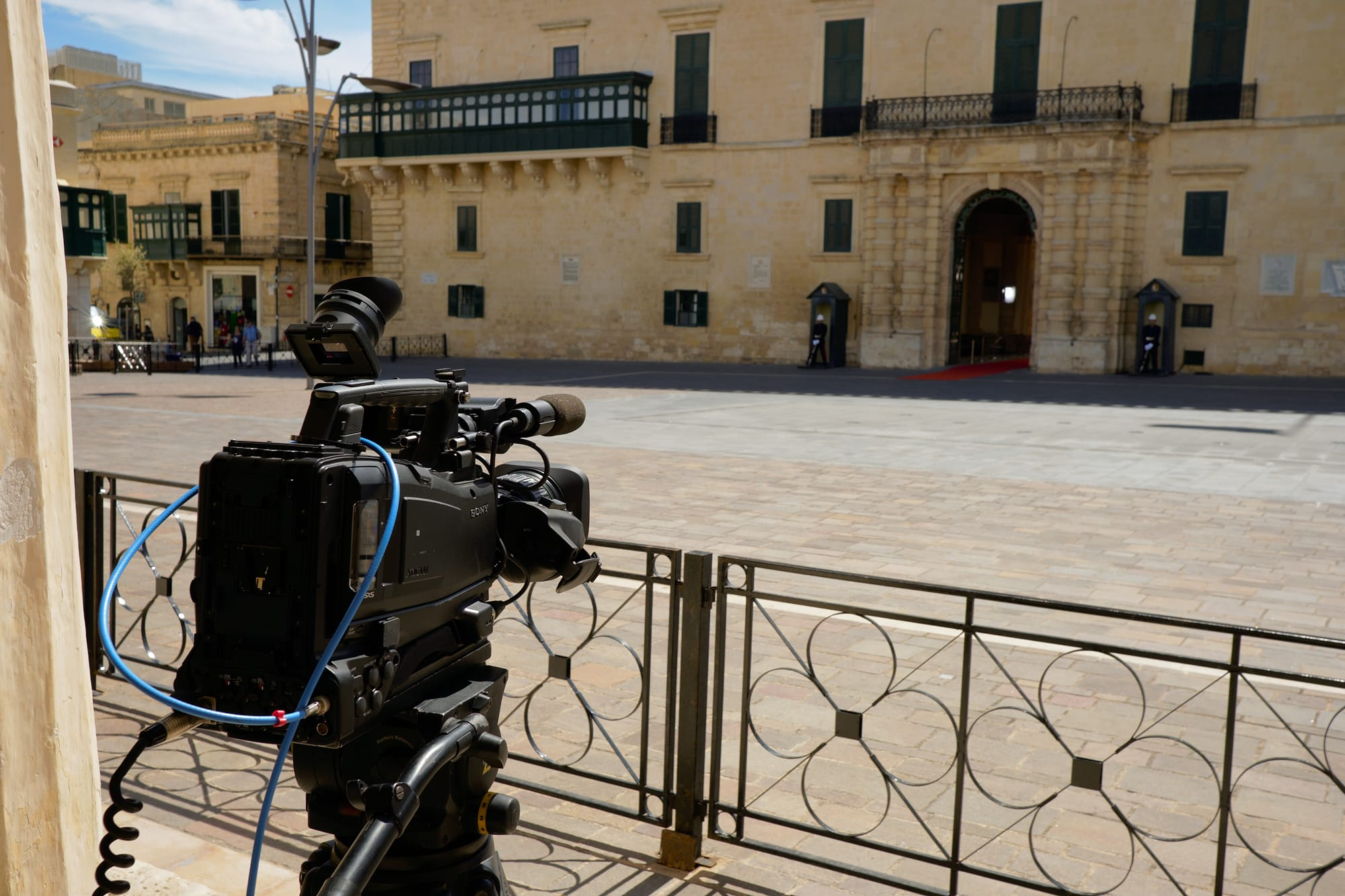television camera pointing at the Palace Armoury
