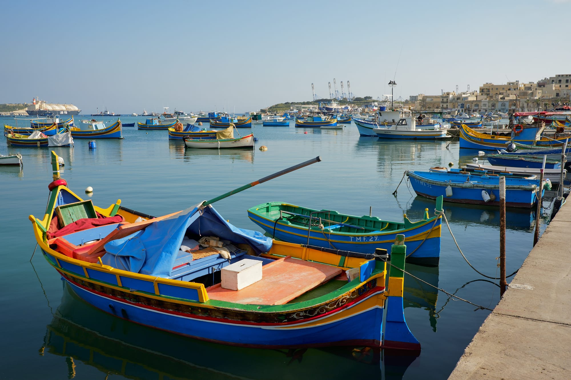 colourful fishing boats in Marsaxlokk bay