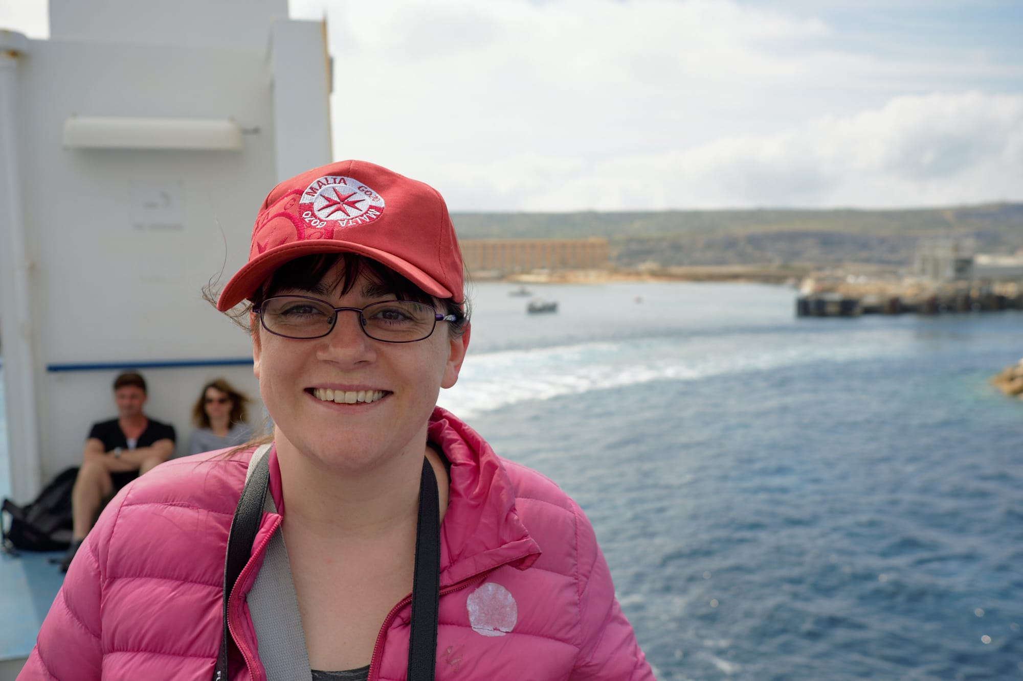 Zoe on the ferry to Gozo