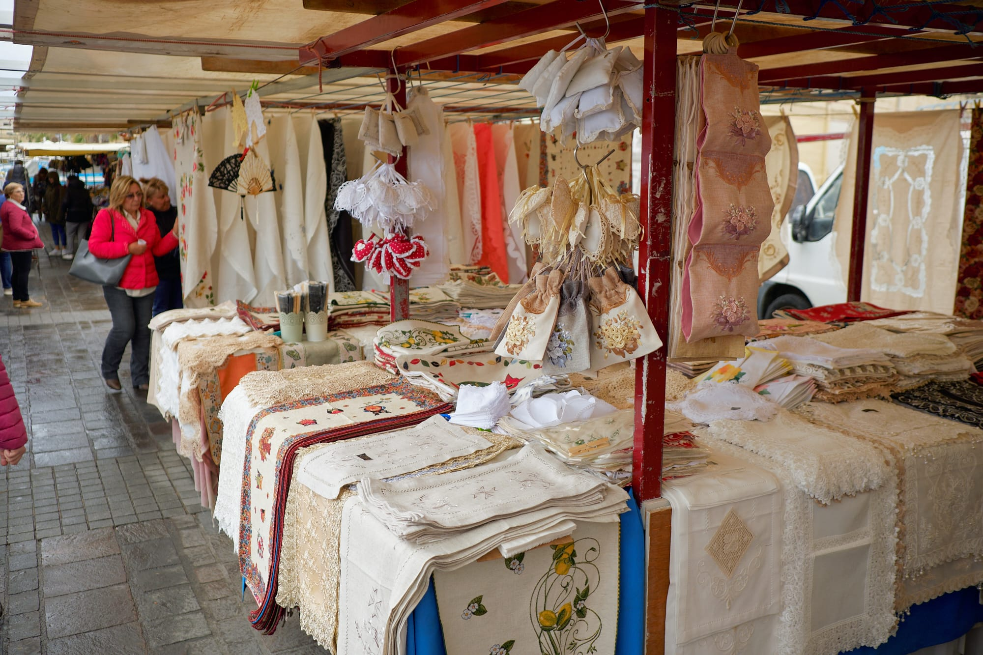 market stall selling cloth goods