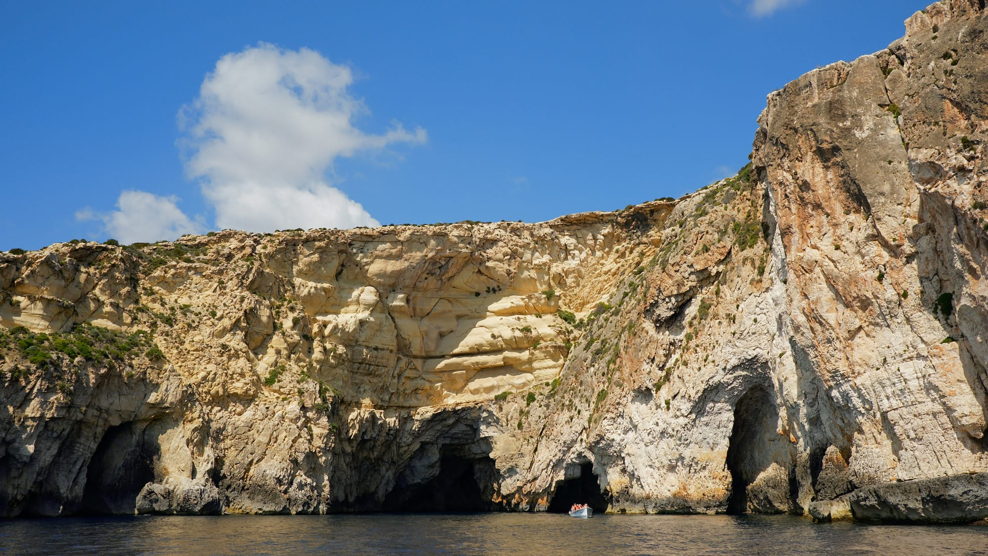 Blue Grotto cliffs and caves