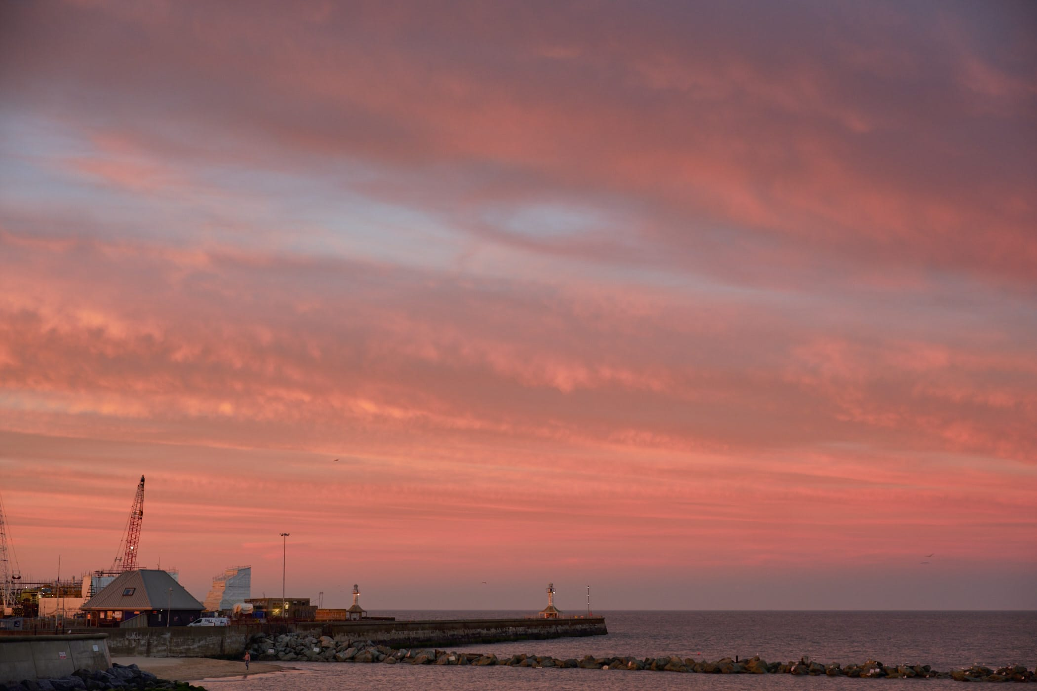 sunset clouds over Lowestoft harbour entrance