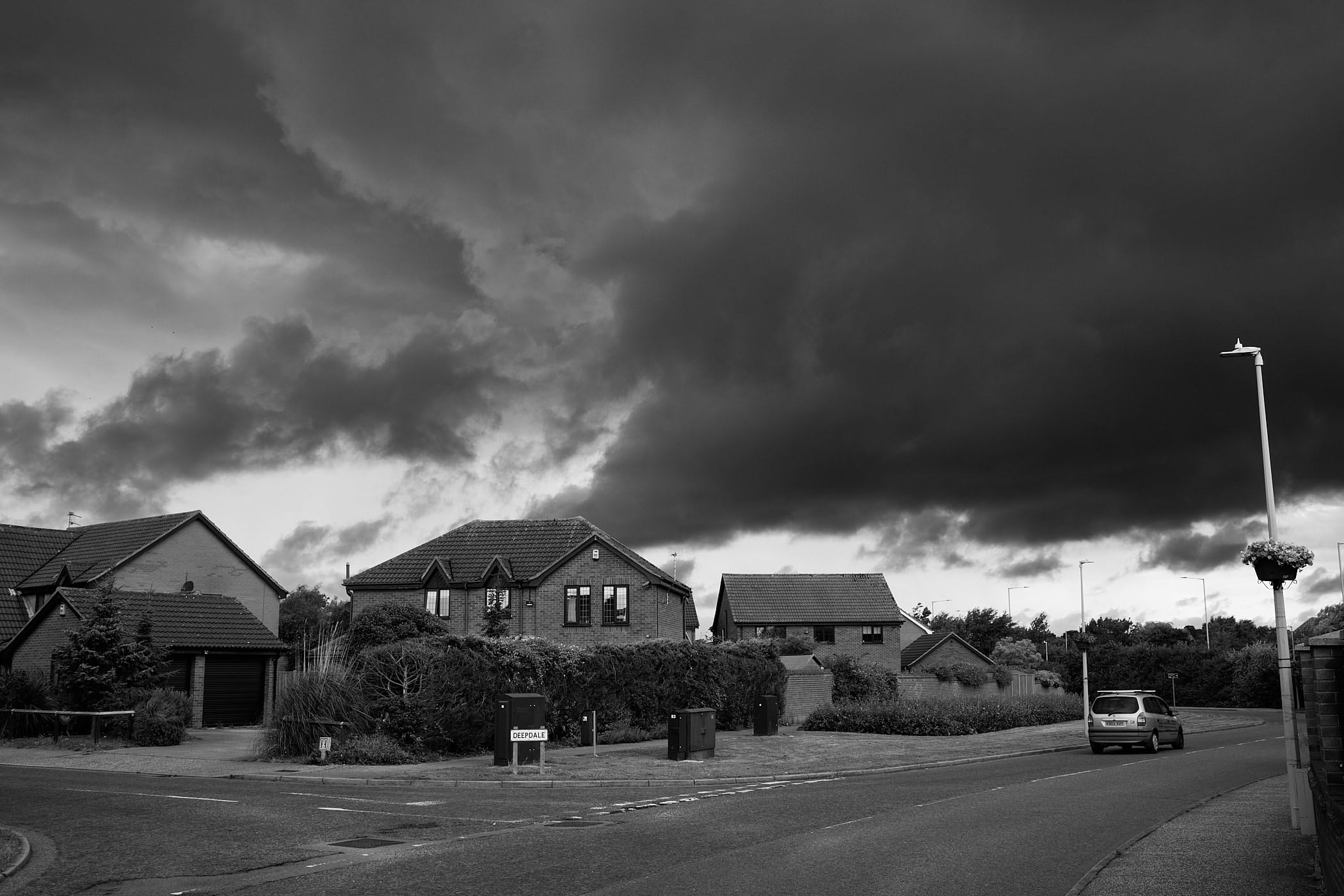 stormclouds over residential area