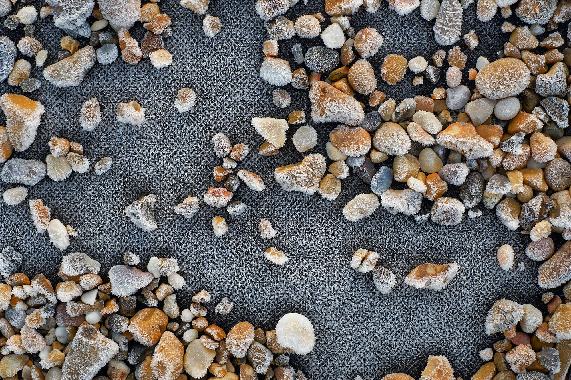 rimed boat path and pebbles