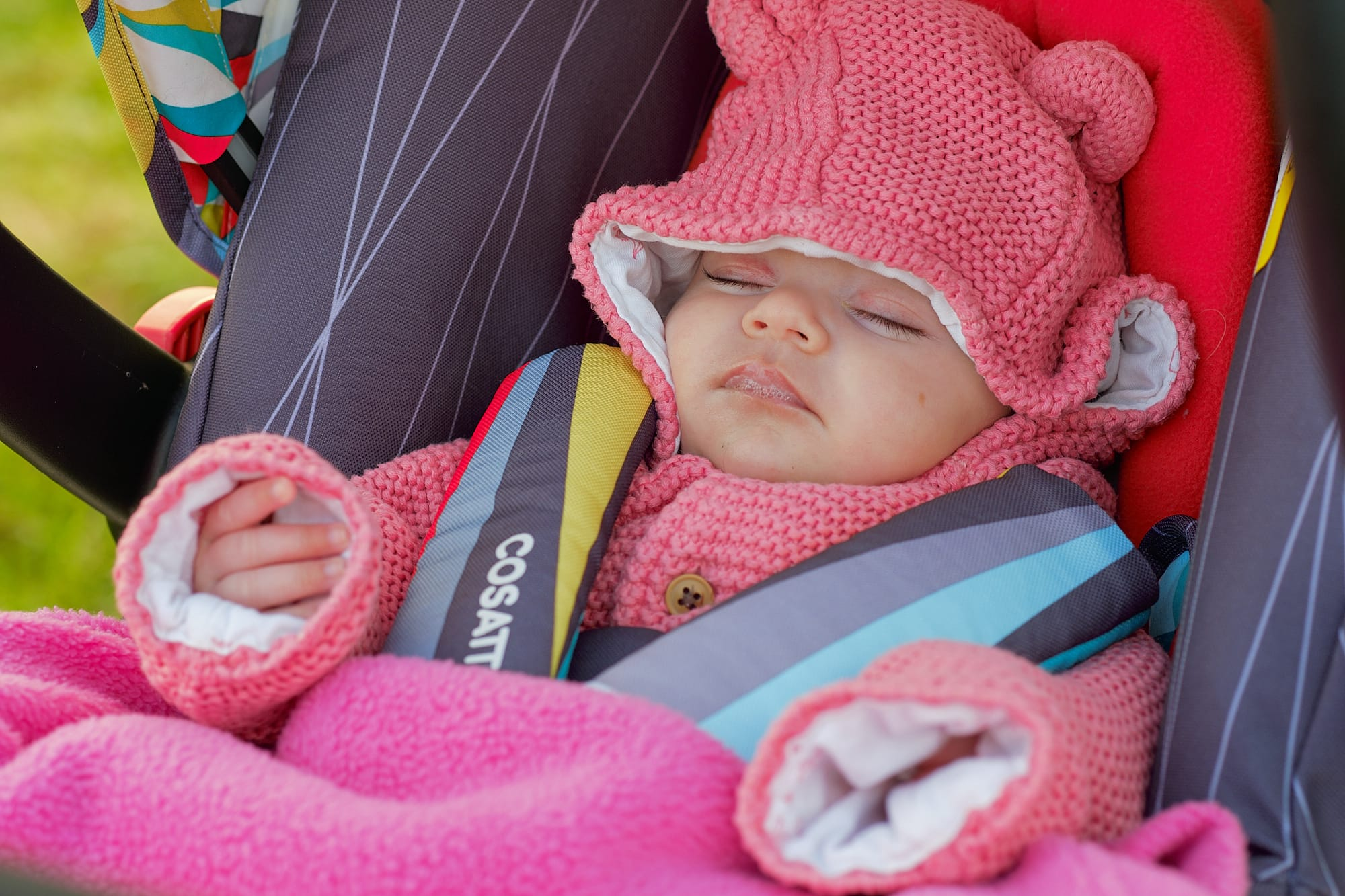Emily sleeping in her pram