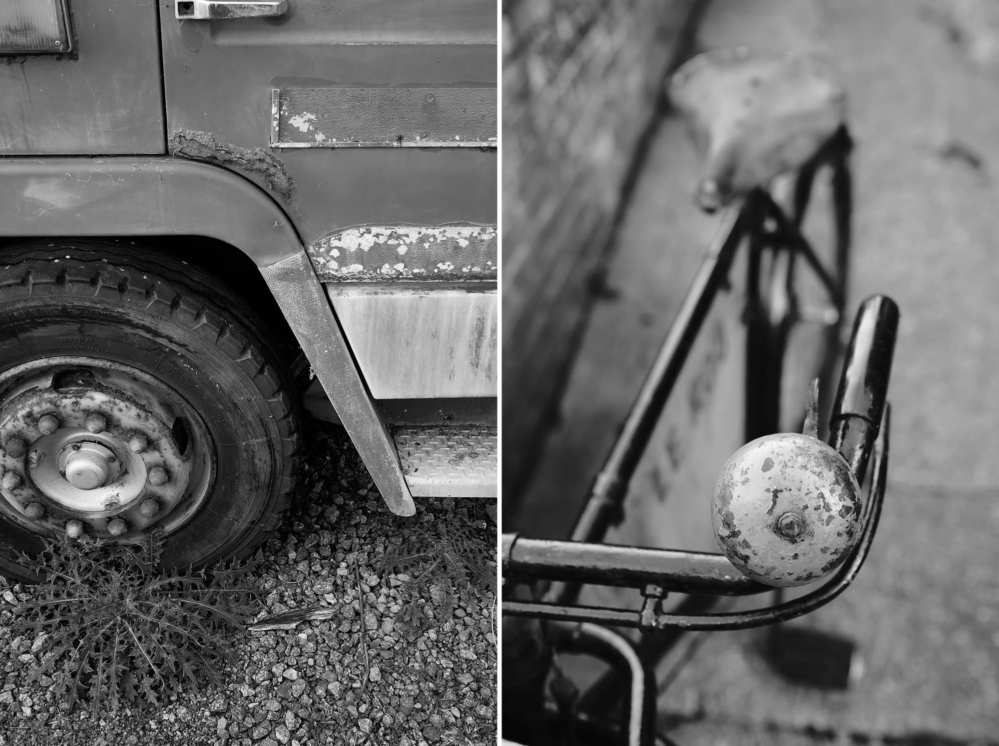 derelict fire engine / old bike bell