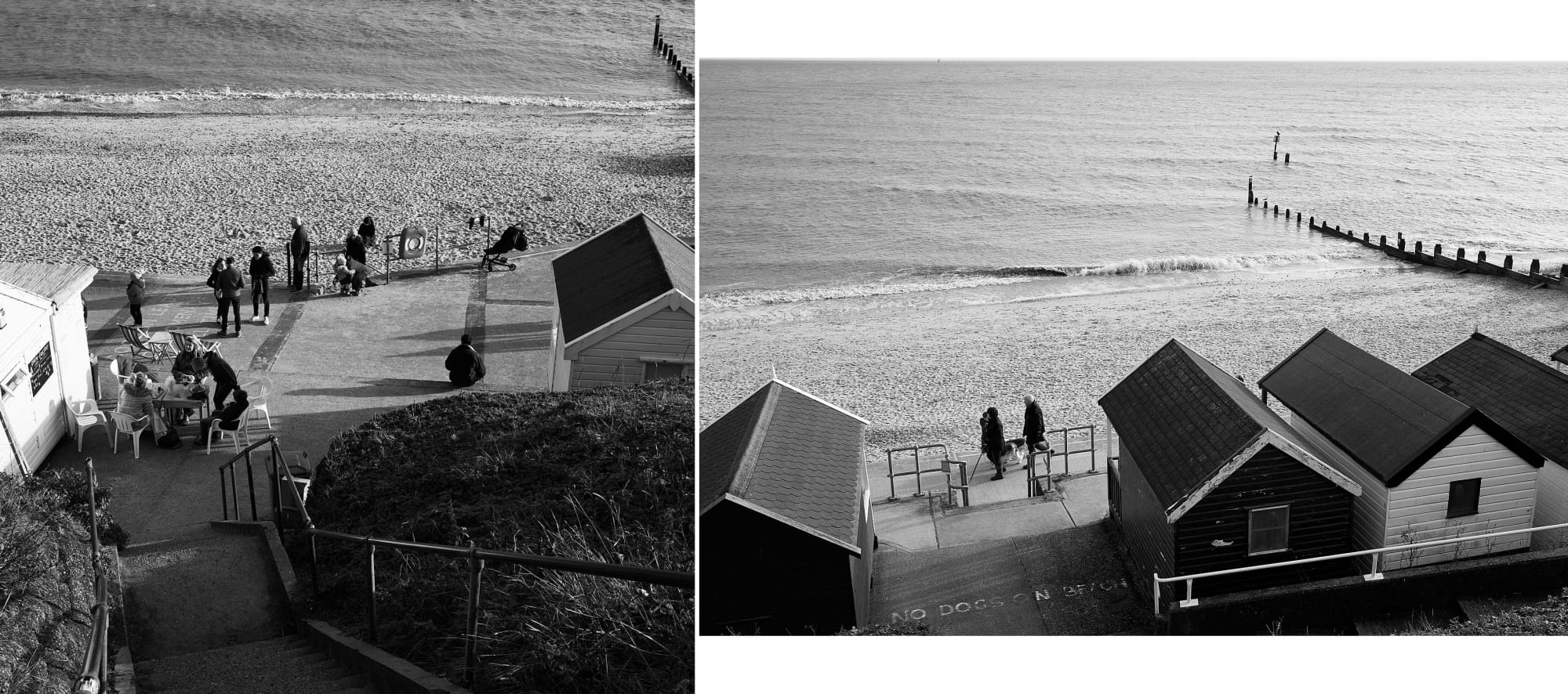 steps down to seafront cafe / looking down on seafront beach huts